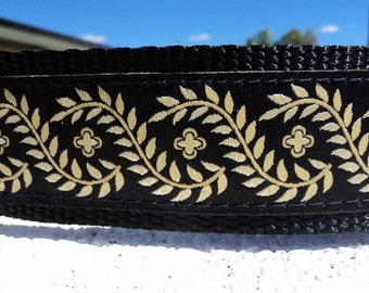 "Large Dog Collar 1.5"" wide side release buckle or Martingale collar style Black Laurel - see 1"" listing - see details for info"