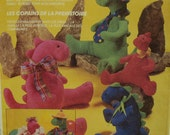 "Stuffed Dinosaur Toys Pattern, Spinosaurus, Funky Clothes, Three Sizes Faye Wine McCalls No. 788 / 6275 UNCUT Size 10""-21.5""(25-55cm)"