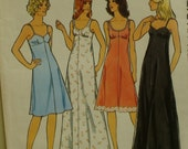 """Womens Slip Pattern, Lingerie, Empire Waist, Scoop Neck, Long/Short, Vintage 1970s, Style No. 1462 Size 12 Bust 34"""" OR Size 16 Bust 38"""""""