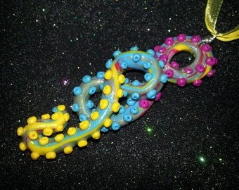 Multi Colored Swirled Tentacle Necklace