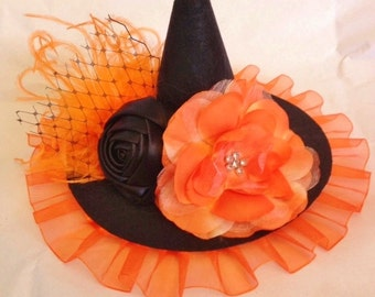 mini witch hat, witch headband, halloween flower headband,orange black headband, photo prop, feather headband, baby headband,glitter