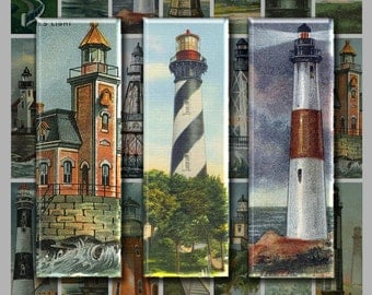 1x3 inch Digital Printable Slides VINTAGE U.S. LIGHTHOUSES art collage sheet for making Jewelry Magnets Crafts