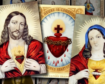 SACRED HEART 2.5x3.5 ACEO Cards - Digital Printable vintage art collage sheet for Tags Cards Paper Crafts...Jesus Mary Burning Hearts