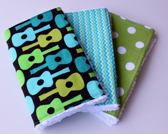 Boutique Baby Boy Burp Cloth Set - Set of Three Chenille Burp Rags - Groovy Guitar, Blue/Green Chevron, and Green and White Polka Dots