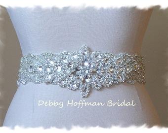 Bridal Sash, Rhinestone Crystal Wedding Dress Sash, Wide Jeweled Bridal Belt, Bridal Rhinestone Encrusted Wedding Belt, No. 1126S3-18-3070