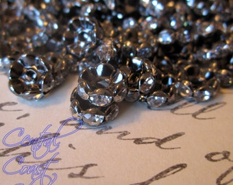 6mm Oxidized Black Gunmetal Czech Crystal Rhinestone Rondelle Spacers - 50 pcs - Wavy Edge - Vintage Style -Central Coast Charms