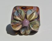 Lampwork Bead to fit Regaliz Leather - Raku Flower on Purple Base