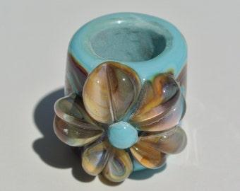 Lampwork Bead to fit Regaliz Leather - Raku Flower on Turquoise Base