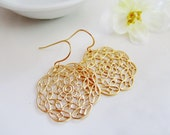 Gold Filigree Earrings, Round, Bohemian, Medium Size, Vintage Style, Everyday Wear, Redpeonycreations