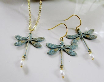 Dragonfly Earring Necklace Set, Teal Blue Patina, Dragonfly jewelry set, Bridesmaid Jewelry, Gift for Her, Woodland