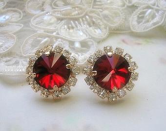 Red Siam Crystal earrings,post earring, wedding earrings,Rhinestones,14 k rose gold plated stud earrings,bridal earrings