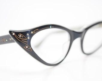 Reserved: Rhinestone Cat Eye Glasses Cateye Eyeglasses NOS Vintage Blue