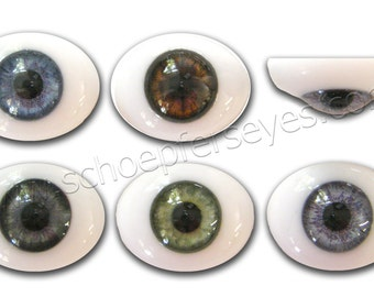 14mm Glass Oval Paperweight Doll Eyes with a Human Iris- One Pair