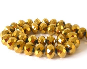40 TINY 4mm gold metallic beads, Chinese crystal rondelles