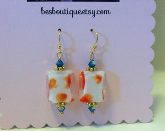 Lampwork Glass Beaded Earrings -- orange drop earrings with blue crystal accents