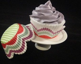 Stripped and Plaid with Lavendar Petal Cupcake Liners