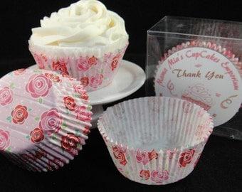 Pink Roses Cupcake Liners