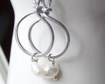 Silver Hoop Earrings, Hoop earrings, Freshwater Pearls, Beaded Earrings, Pearl Hoops, Bridal Earrings, Etsy, Etsy Jewelry,