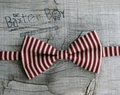 Ready-to-ship --- size MEDIUM Maroon and tan vertical stripe  little boy bow tie - photo prop, wedding, ring bearer, accessory