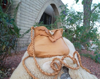 Hand Laced Deerskin fully lined in dark brown Leather Mama Blop Bag