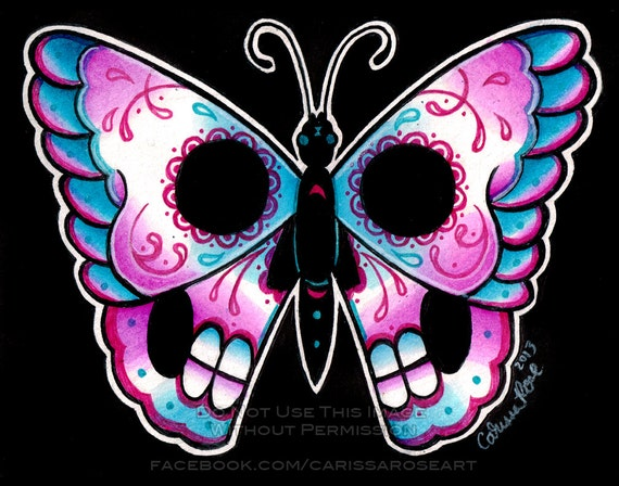 Day of the Dead Butterfly Art Print - Limited Edition Signed Print 6/50 - Old School Tattoo Flash - apprx 11x14 in Print
