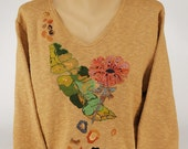 Hand Painted 100% Cotton Sweater - Art-to-wear-  'One'-design on Wheat Sweater