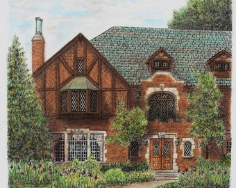 """Tudor Brick House Architectural Art Original Pen and Ink Pastel Home Portrait Slate Roof Wall decor 12"""" x 12"""" brown green"""