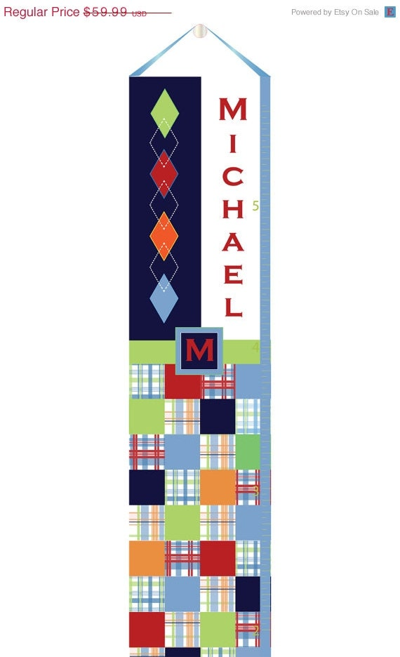 SALE :) Personalized Canvas Growth Chart -Plaid and Argyle - Customize your colors