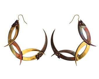 THISTLE WREATH / Large Gold and Copper Hoop Earrings / Free Shipping