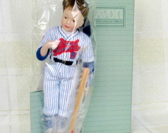 """Avon Childhood Dreams Porcelain Doll Collection """"Grand Slammers"""" 1991 in Original Box Baseball Collectible"""