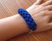 Cobalt Blue Bracelet, Woven T-Shirt Yarn Bracelet, Blue Fabric Bracelet, Bohemian Bracelet, Bohemian Jewelry