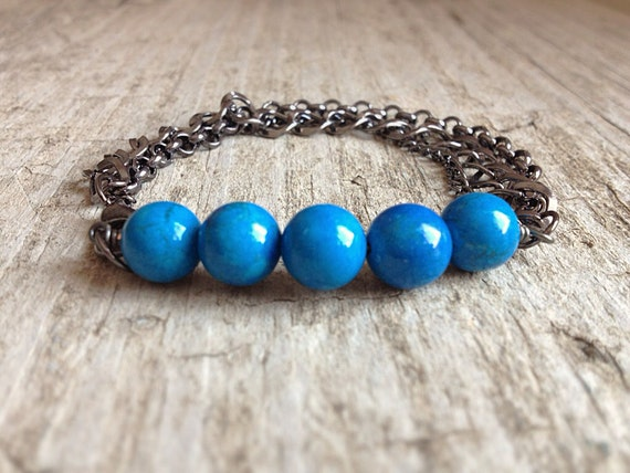 Turquoise Howlite & Gunmetal Chains Stacking Bracelet Bohemian Jewelry