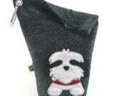 Dog Poop Bag Holder Small Leash Bag Shih Tzu Black and White