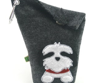 Dog Poop Bag Holder Small Leash Bag Shih Tzu Black and White