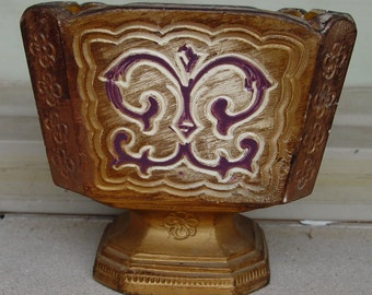 Beautiful Vintage Napco Ware Footed Planter Gold, Purple, Cream Imported from Japan