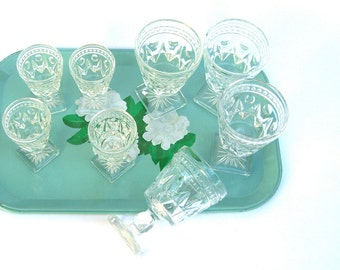 Vintage Colony Park Lane Goblets, Indiana Glass, Clear 4 Small Wine Glasses 4 Cordials, Retro Bar
