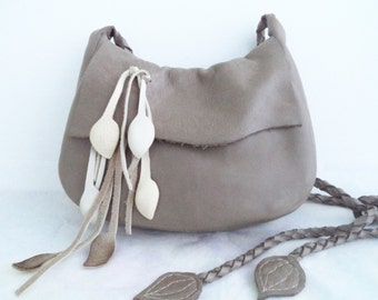 taupe ceam leather handbag shoulder purse with leaf fringe by Tuscada. Ready to ship.