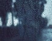 Rain Storm, Winter Decor, Rain Drops, Abstract, Fine Art Photography, Grey, Teal, Dark Decor, 8x10 Storm Photograph - BreeMadden