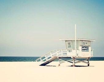 "Beach Photography, Blue Teal Decor, Summer, Los Angeles California Wall Art, Beach Decor, Lifeguard Tower Print  ""Hermosa Beach"""