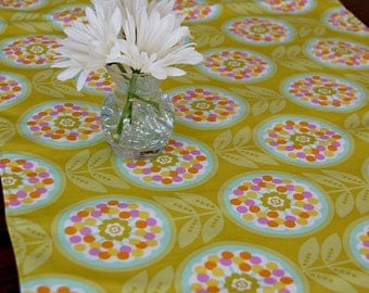 Floral Table Runner, Green Table Runner, Aqua Yellow, 16x72, Lined Table Runner, Table Cloth, Table Linens