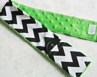 Camera Strap Cover with Lens Cap Pocket - Padded Minky -Black Chevron with Bright Green Minky- MADE TO ORDER
