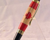 Handcrafted Canadian Flag Laser Cut Ball Point Pen With Capacitive Soft Touch Stylus Tip