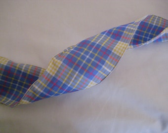 """Plaid Ribbon. 2.5""""/ 8 cm wide. Blue/yellow/white. Sold by the metre"""