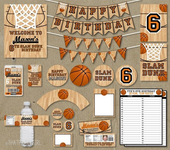 Basketball birthday party package favors banners decorations for Basketball craft party ideas