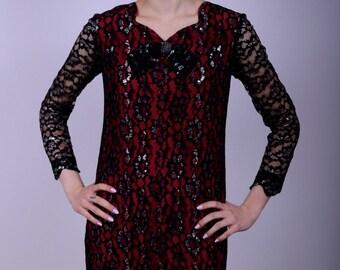 60s Mod Twiggy Black Lace Long Sleeve Mini