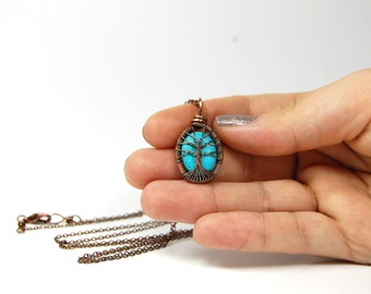 Miniature Small Tiny Itty Bitty Oval Turquoise Tree of Life Necklace in Antique Copper.
