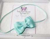 Aqua Baby Bow Headband. Infant, Baby Toddler, Girls Tuxedo Bow Soft Stretchy Headband. Holiday Christmas Headband.  Free Ship Promo.