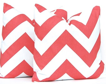 One Coral Pillow Cover - Decorative Pillow Cover - Throw Pillow Cover - Chevron Pillow Cover - Coral Bedding - Coral Decor - Sofa Pillow