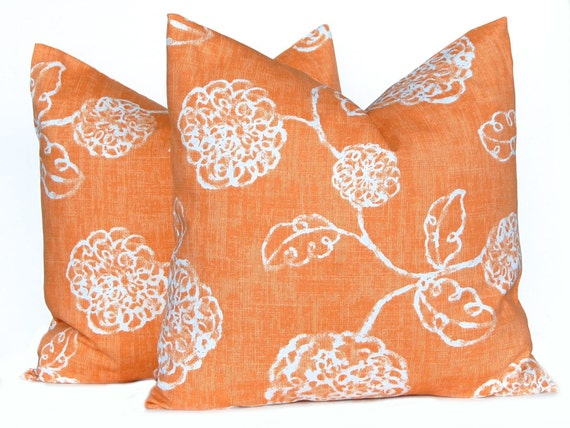 Fall Pillow Covers - Orange and White Pillow Covers -  Autumn Decor - Thanksgiving Decor - Orange Cushion Covers - Floral Pillow Covers