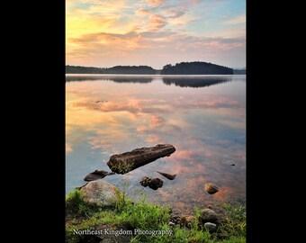 Sunrise and Reflection on Island Pond Print